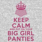 Keep Calm and Put On Your Big Girl Panties - Keep Calm Parody - Girly Determination by traciv