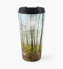 Beauty of winter forest with moss, sunny day, nature concept Travel Mug