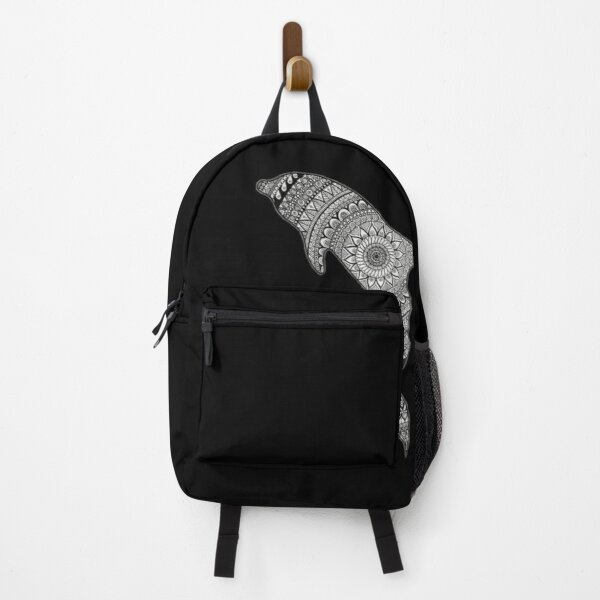 Zentangle inspired art|Dolphin| Backpack