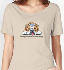 Being Adorable Bulldog Blue Women's Relaxed Fit T-Shirt