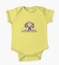 Being Adorable Bulldog Blue One Piece - Short Sleeve