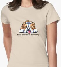 Being Adorable Bulldog Blue Women's Fitted T-Shirt