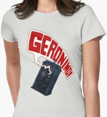 """Geronimo!"" The 11th Doctor Women's Fitted T-Shirt"