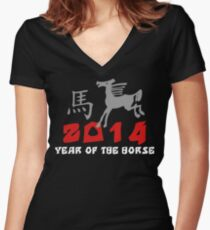 Chinese Zodiac Year of The Horse 2014 Women's Fitted V-Neck T-Shirt