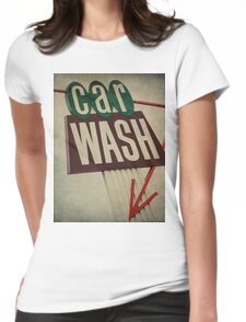 Vintage Car Wash Sign  Womens Fitted T-Shirt
