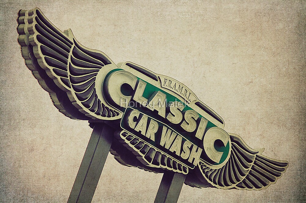Flying Wings Classic Car Wash Sign By Honey Malek Redbubble - Car sign with wings