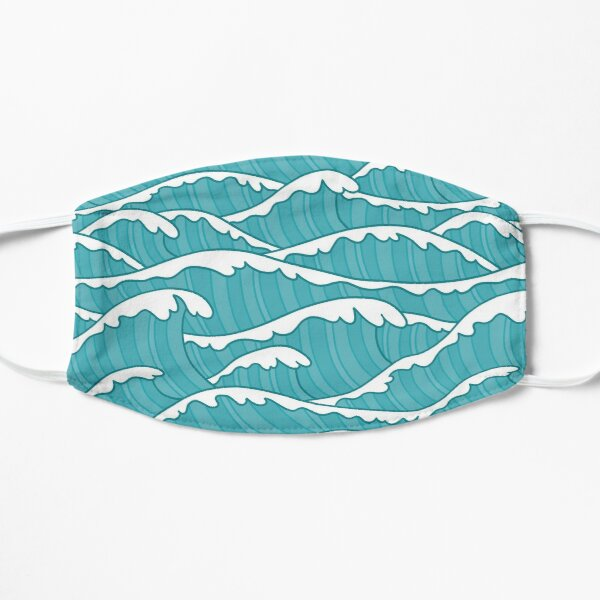Turqoise Ocean Waves Pattern Mask