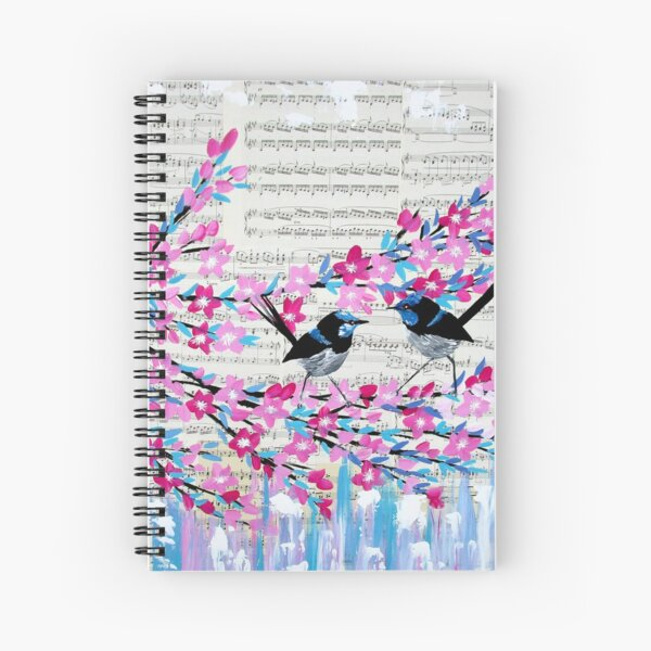 Blue Wrens and Vintage Music Spiral Notebook