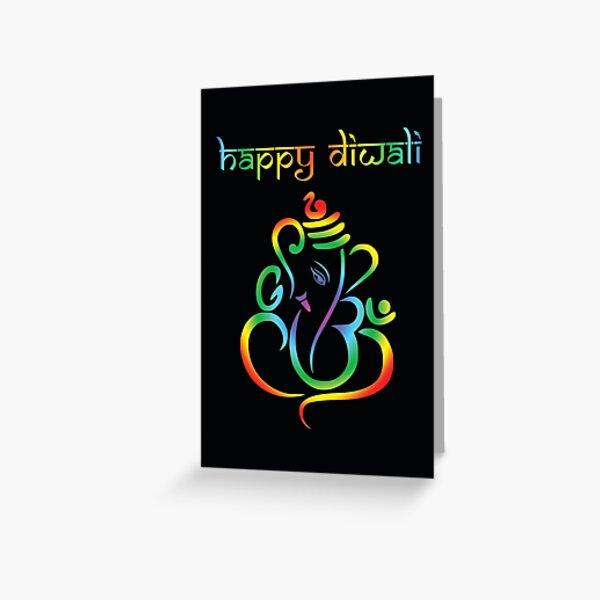 Happy Diwali - beautiful colourful Lord Ganesha on black Greeting Card
