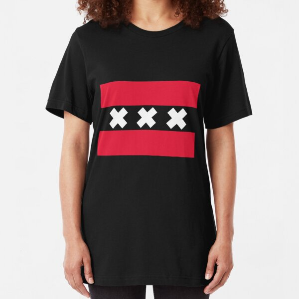Mens Amsterdam Badge Print Crew Neck Slim Fit Sweatshirt Jumper Pullover