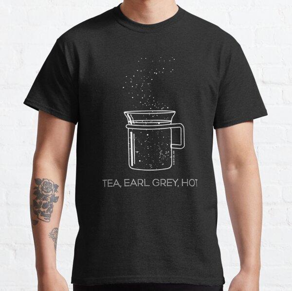 Tea, Earl Grey, Hot - Captain Picard, Star Trek TNG, Star field (dark backgrounds) Classic T-Shirt