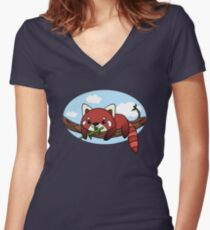 Red panda Women's Fitted V-Neck T-Shirt