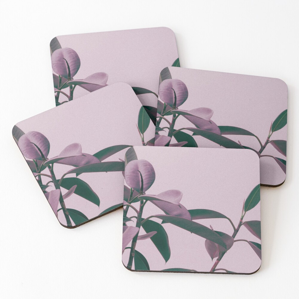 Purple summer leaves Coasters (Set of 4)