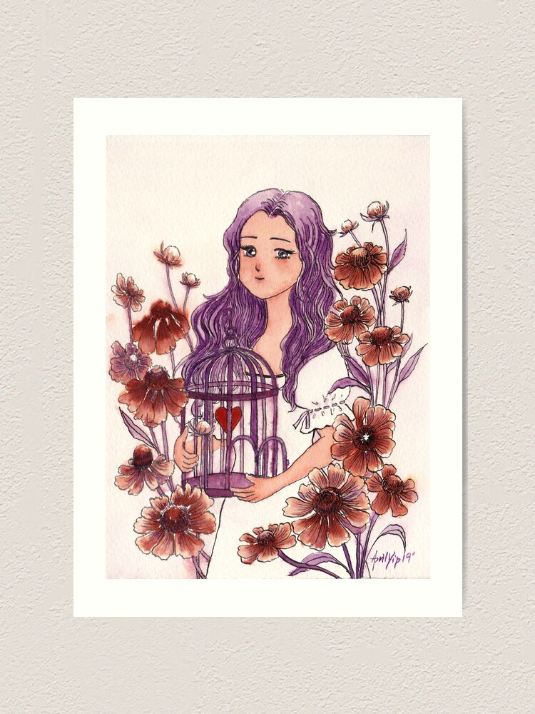 Alternate view of The Girl holding a Bird Cage with a Heart inside Art Print