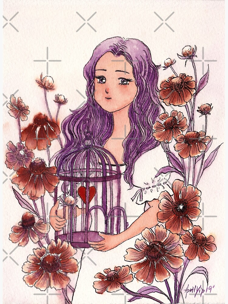 The Girl holding a Bird Cage with a Heart inside by whya