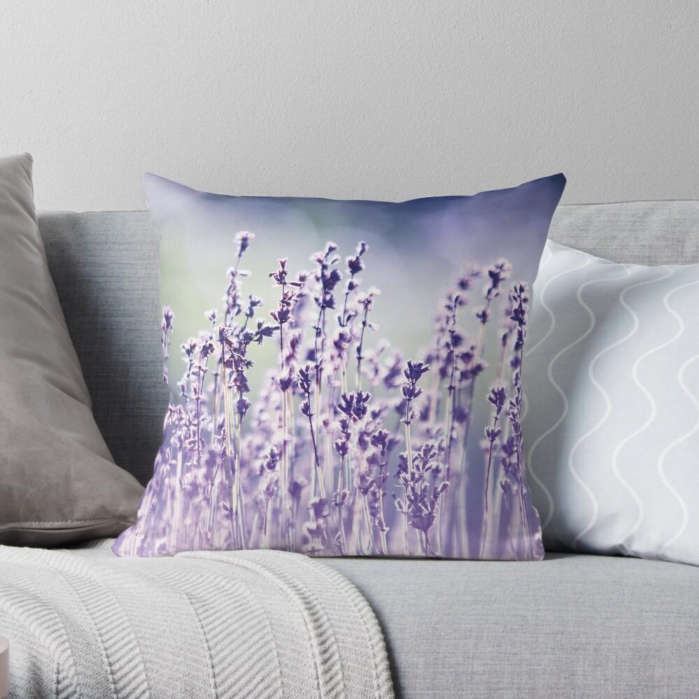 Purple summer field, lavender Throw Pillow