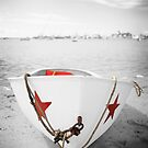 Black and White Photography With Color RowBoat by Artist Dapixara