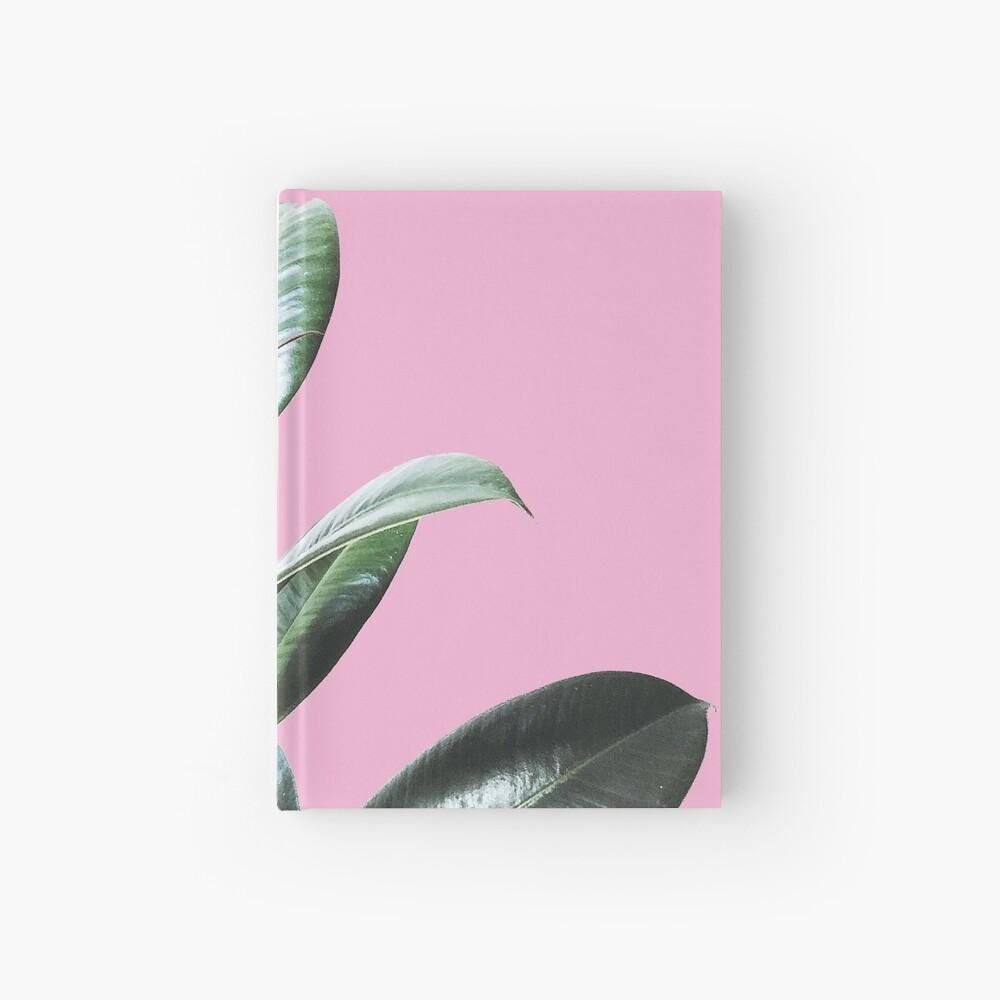 Graphic green botanicals, pink background Hardcover Journal