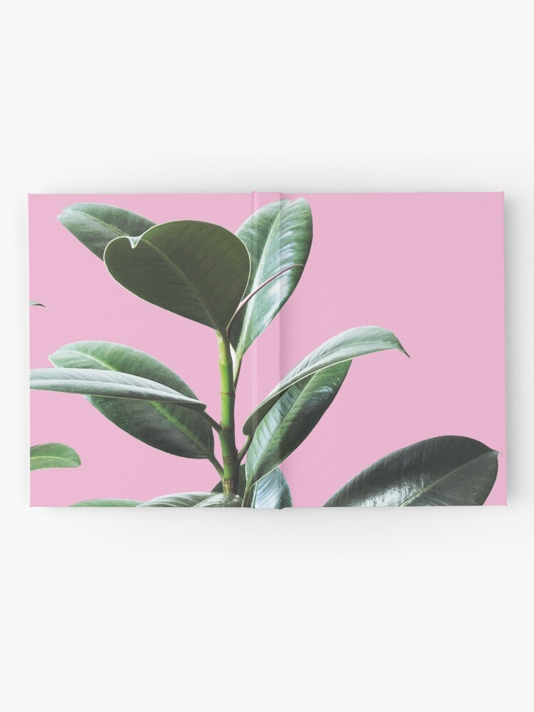 Alternate view of Graphic green botanicals, pink background Hardcover Journal