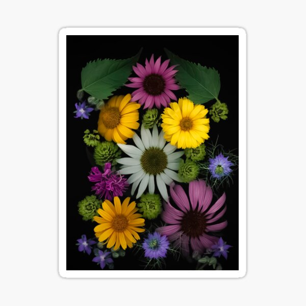 Midsummer - A collection of colorful and vibrant wildflowers. Sticker