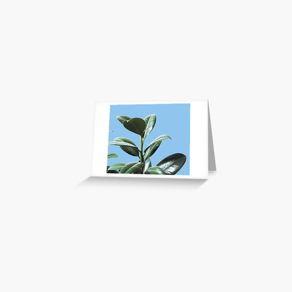 Graphic green botanicals, blue background Greeting Card