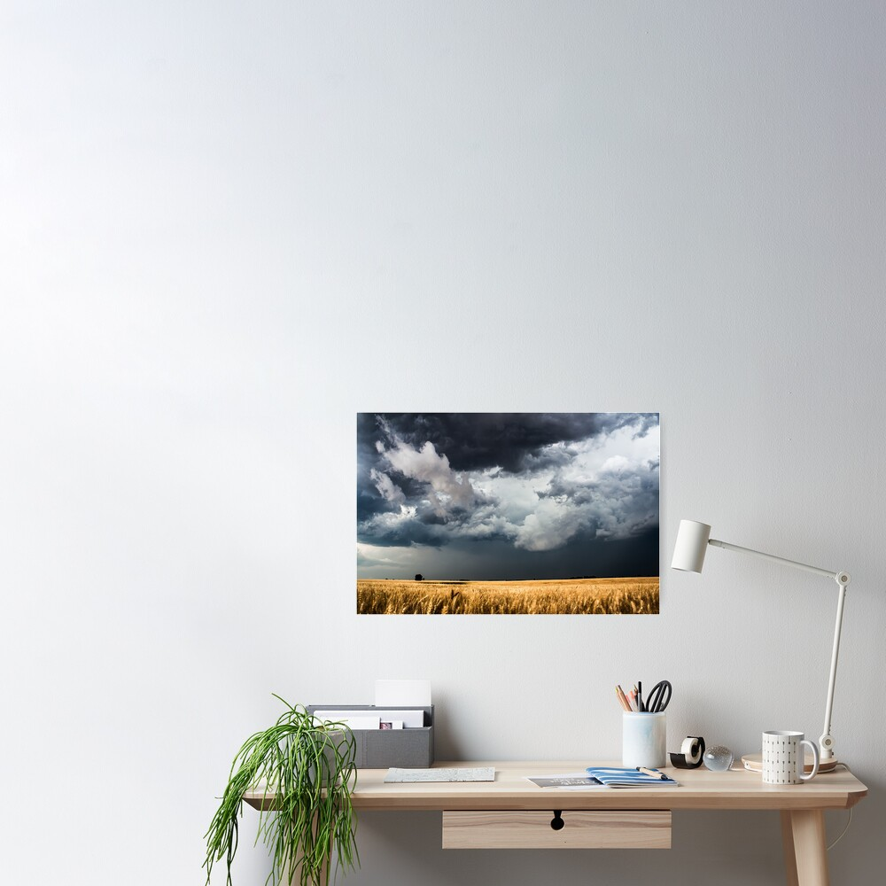 Cotton Candy - Storm Clouds Gather Over Golden Wheat Field in Kansas Poster