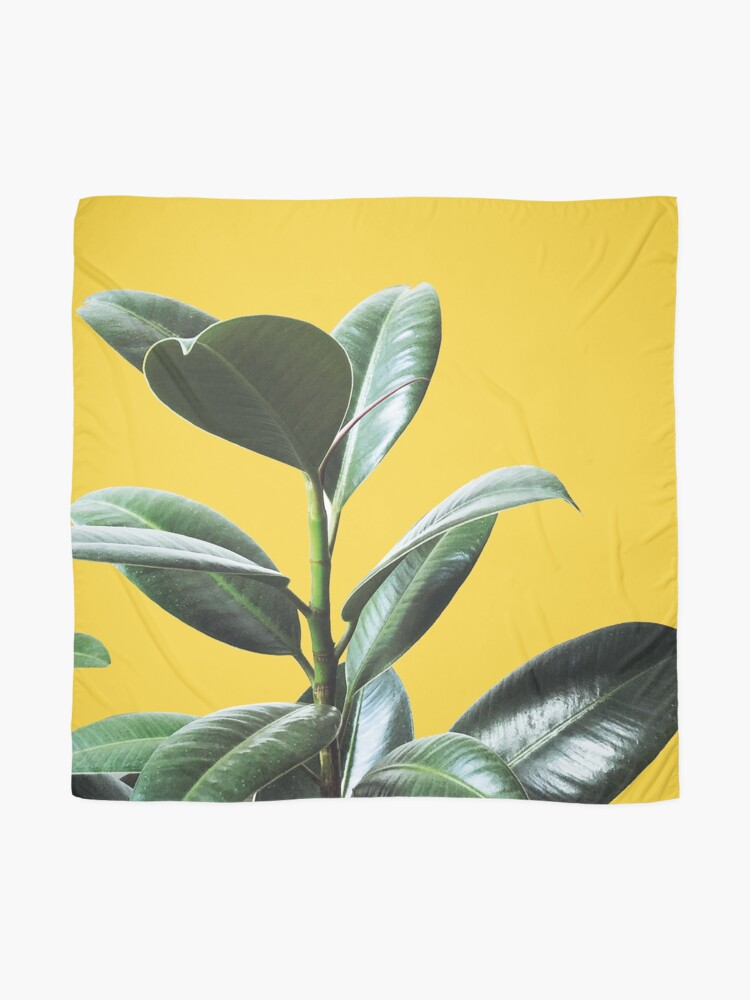 Alternate view of Graphic green botanicals, yellow background Scarf