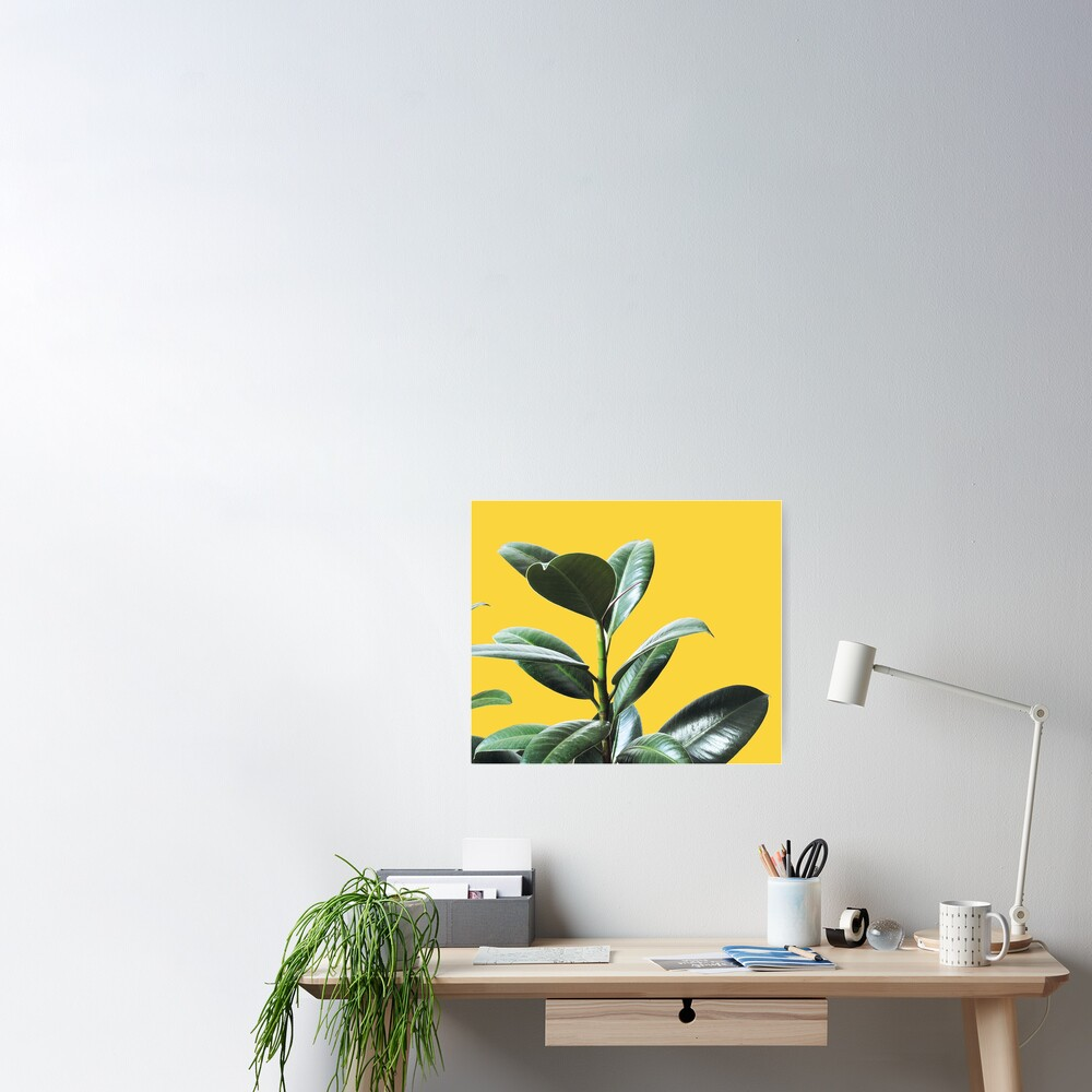 Graphic green botanicals, yellow background Poster