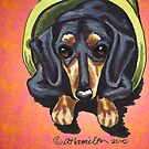 Dachshund in Flower Pot Red by offleashart