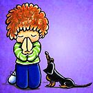 Dachshund with Praying Boy Blue by offleashart