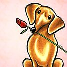 Dachshund with Rose Pink by offleashart