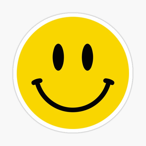 Yellow Smiley Face   - Cool Happy Motorcycle Or Funny Helmet Stickers And Bikers Gifts Sticker