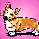 Corgi with Rose Pink by offleashart