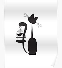 Cat and Bird Poster