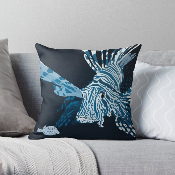Lionfish DEEP BLUE SEA Throw Pillow