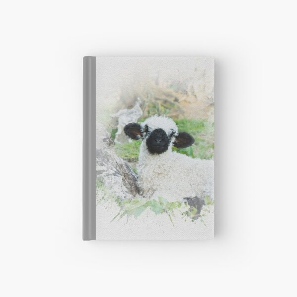 Valais Blacknose Sheep Watercolour Photograph. Hardcover Journal