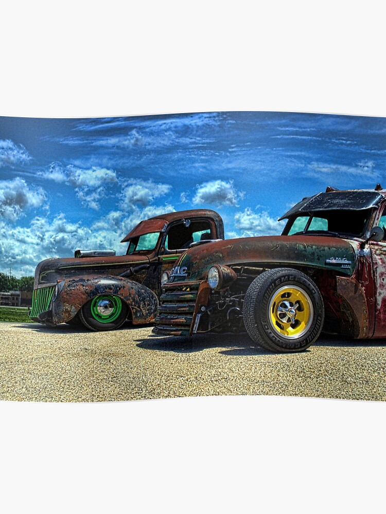 1941 Ford Pickup and 1948 GMC Pickup Truck Rat Rods | Poster