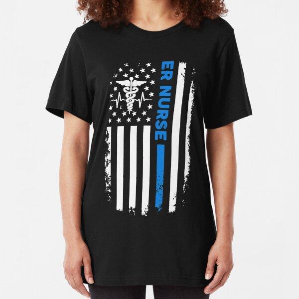 ER Nurse Flag Slim Fit T-Shirt
