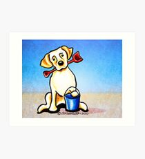 Yellow Lab Puppy Beachside Art Print
