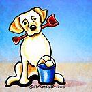 Yellow Lab Puppy Beachside by offleashart