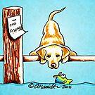 Yellow Lab Dock Dog by offleashart