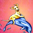 Yellow Lab Riding Dolphin Sunset by offleashart