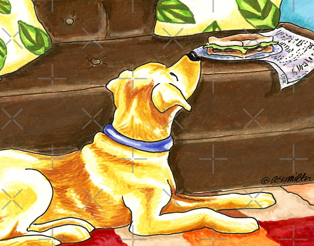 Yellow Lab Sandwich Thief by offleashart