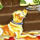 Yellow Lab Sandwich Thief by offleashart
