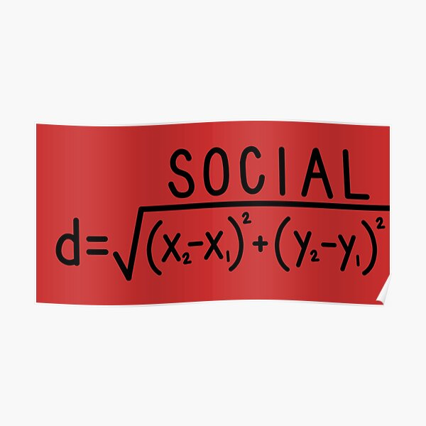 Social Distance (formula) Red Poster