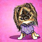Sable Pomeranian Purple Sweater Magenta by offleashart