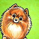 Red Pomeranian Listen Up Green by offleashart