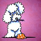 White Poodle Cupcake Thief Purple by offleashart
