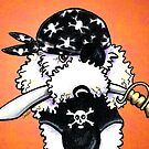 White Poodle Pirate Costume Orange by offleashart