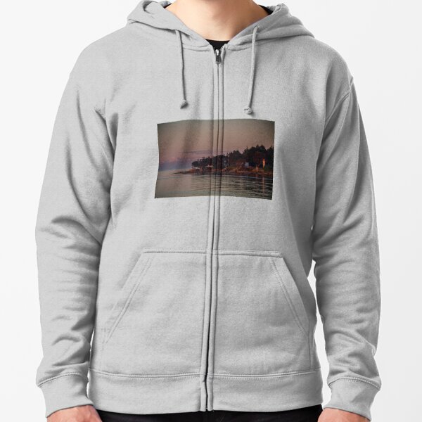 Mayne island and Mt.Baker at twilight Zipped Hoodie